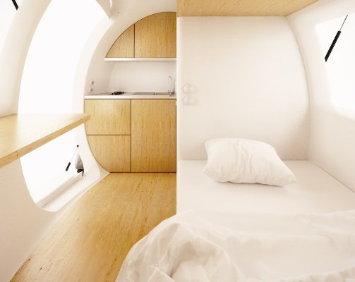 This looks better than most hotel rooms I've ever stayed in. Pretty cool looking interior. (c) ecocapsule.sk