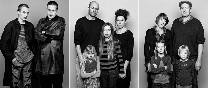 """As Time Goes By"" by Barbara Davatz: Beni, Andi, 1982.  Beni, Charlotte, Lou-Salomé, Natalie, 2014.  Andrea, Anna, Leila, Andi, 2014."